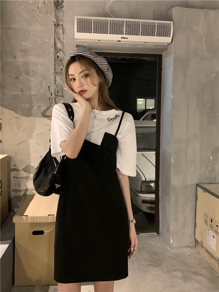 韓国 ファッション セットアップ 春 夏 カジュアル PTXK296  オーバーサイズ Tシャツ アシメ ゆったり オルチャン シンプル 定番 セレカジの写真9枚目