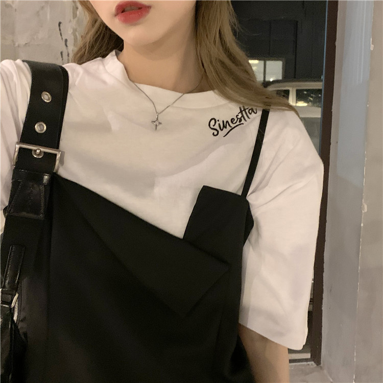 韓国 ファッション セットアップ 春 夏 カジュアル PTXK296  オーバーサイズ Tシャツ アシメ ゆったり オルチャン シンプル 定番 セレカジの写真10枚目