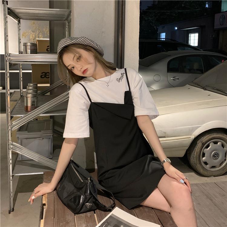 韓国 ファッション セットアップ 春 夏 カジュアル PTXK296  オーバーサイズ Tシャツ アシメ ゆったり オルチャン シンプル 定番 セレカジの写真12枚目