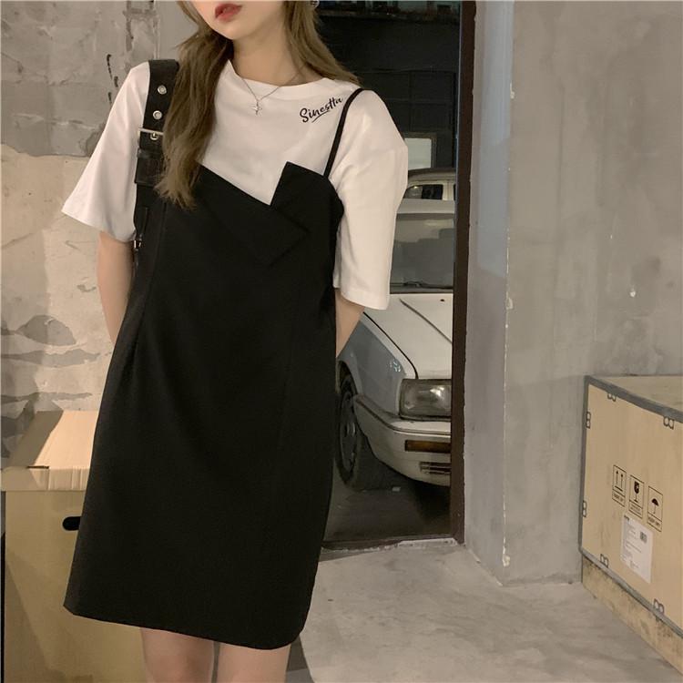 韓国 ファッション セットアップ 春 夏 カジュアル PTXK296  オーバーサイズ Tシャツ アシメ ゆったり オルチャン シンプル 定番 セレカジの写真16枚目
