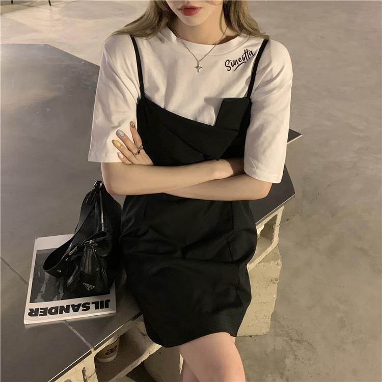 韓国 ファッション セットアップ 春 夏 カジュアル PTXK296  オーバーサイズ Tシャツ アシメ ゆったり オルチャン シンプル 定番 セレカジの写真19枚目