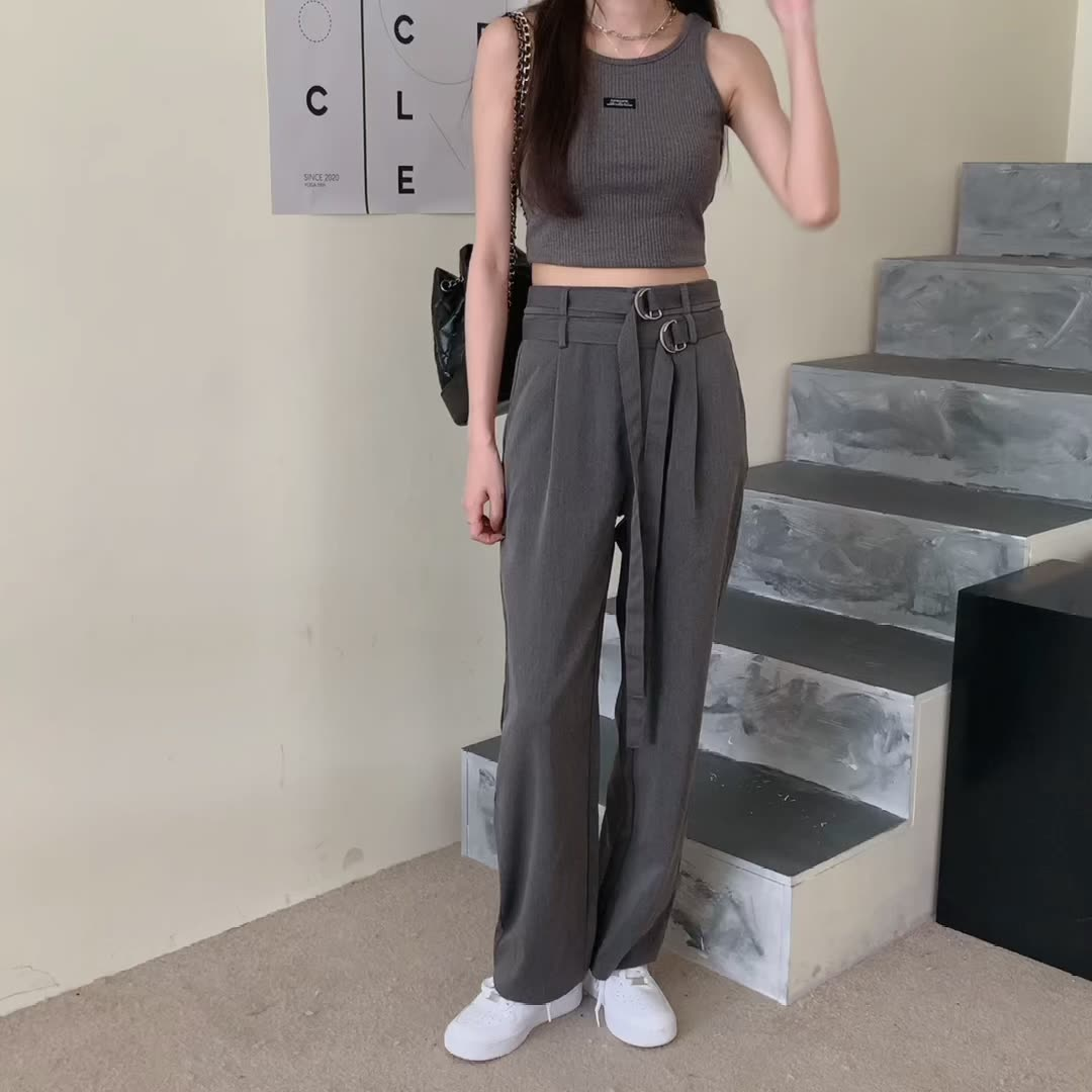 韓国 ファッション セットアップ 春 夏 カジュアル PTXK298  タンクトップ ウエストマーク バギーパンツ オルチャン シンプル 定番 セレカジの写真2枚目