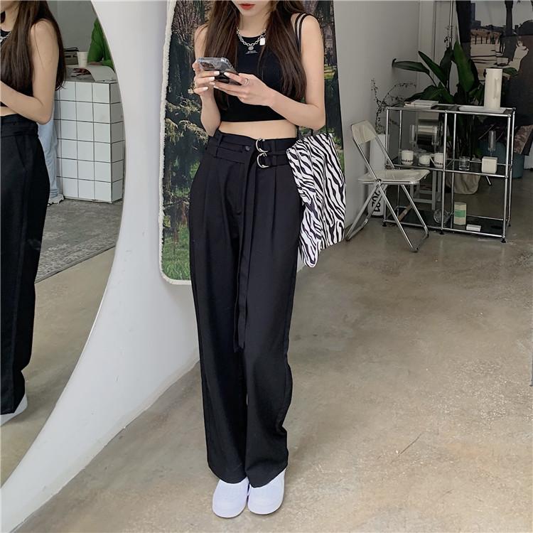 韓国 ファッション セットアップ 春 夏 カジュアル PTXK298  タンクトップ ウエストマーク バギーパンツ オルチャン シンプル 定番 セレカジの写真5枚目