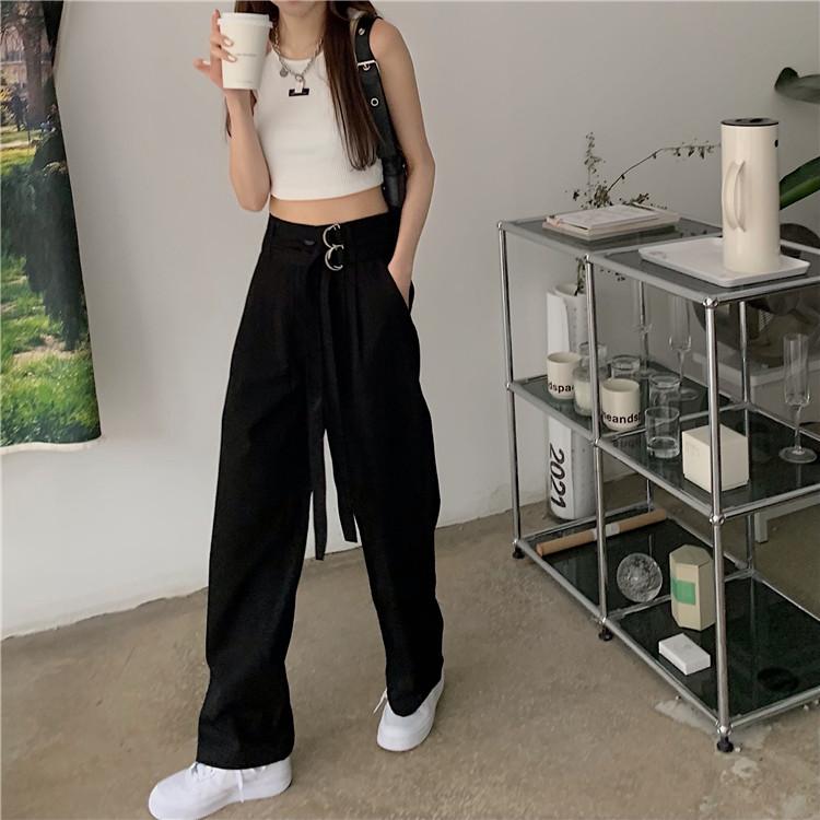 韓国 ファッション セットアップ 春 夏 カジュアル PTXK298  タンクトップ ウエストマーク バギーパンツ オルチャン シンプル 定番 セレカジの写真7枚目