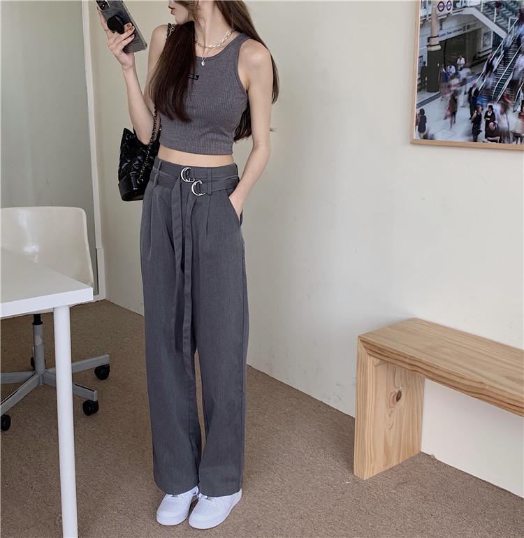 韓国 ファッション セットアップ 春 夏 カジュアル PTXK298  タンクトップ ウエストマーク バギーパンツ オルチャン シンプル 定番 セレカジの写真10枚目