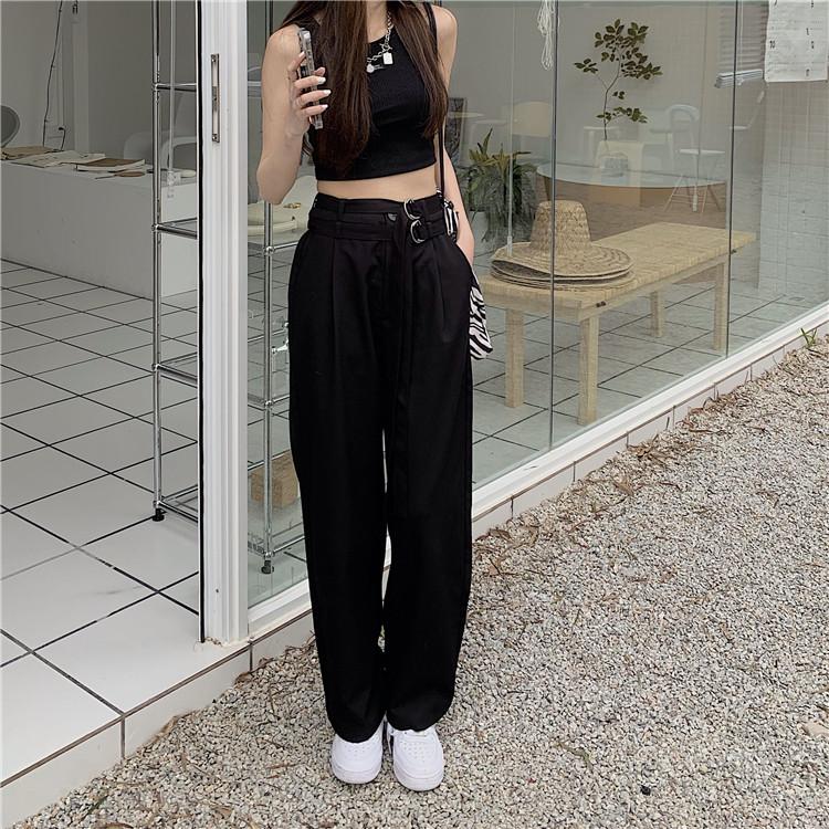 韓国 ファッション セットアップ 春 夏 カジュアル PTXK298  タンクトップ ウエストマーク バギーパンツ オルチャン シンプル 定番 セレカジの写真20枚目