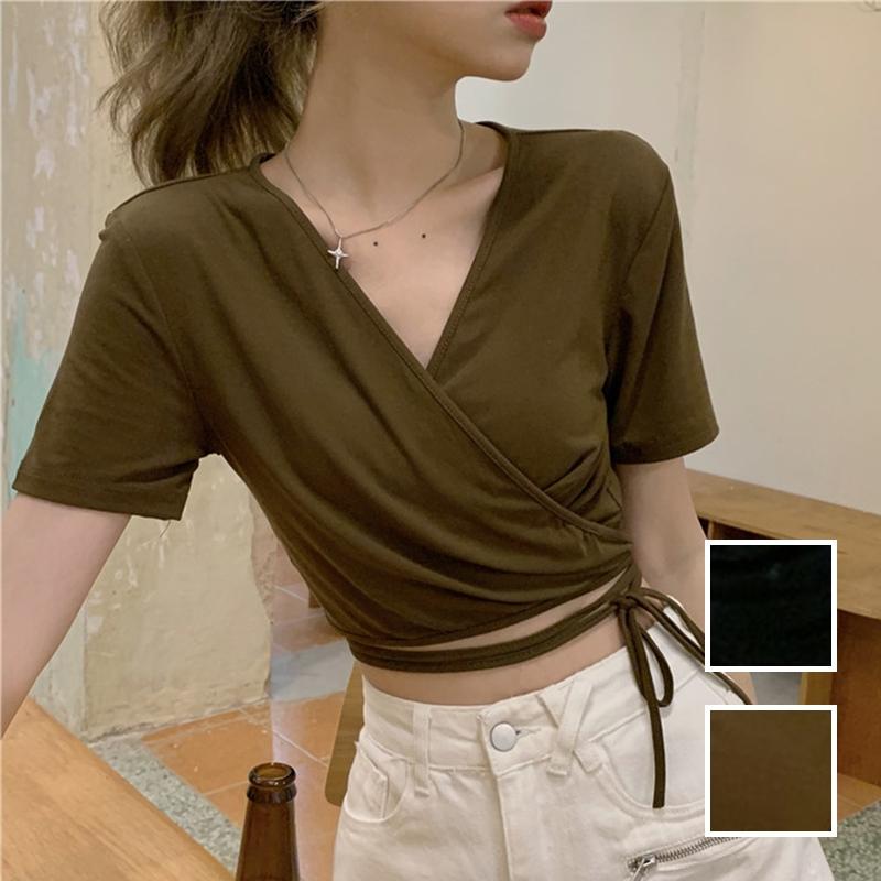 韓国 ファッション トップス Tシャツ カットソー 春 夏 カジュアル PTXK312  カシュクール 肌見せ Tシャツ カットソー オルチャン シンプル 定番 セレカジの写真1枚目