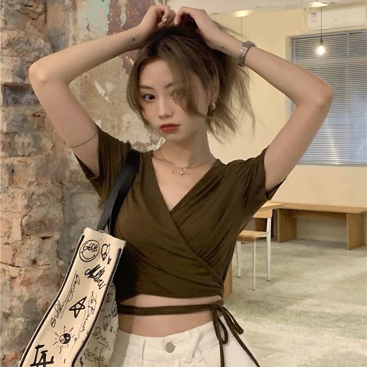 韓国 ファッション トップス Tシャツ カットソー 春 夏 カジュアル PTXK312  カシュクール 肌見せ Tシャツ カットソー オルチャン シンプル 定番 セレカジの写真2枚目
