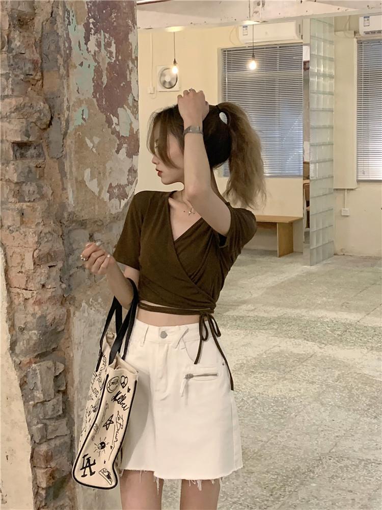 韓国 ファッション トップス Tシャツ カットソー 春 夏 カジュアル PTXK312  カシュクール 肌見せ Tシャツ カットソー オルチャン シンプル 定番 セレカジの写真3枚目