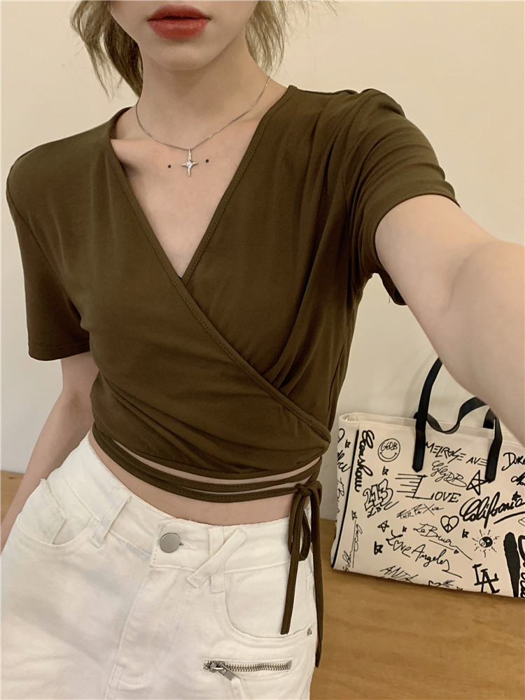 韓国 ファッション トップス Tシャツ カットソー 春 夏 カジュアル PTXK312  カシュクール 肌見せ Tシャツ カットソー オルチャン シンプル 定番 セレカジの写真6枚目