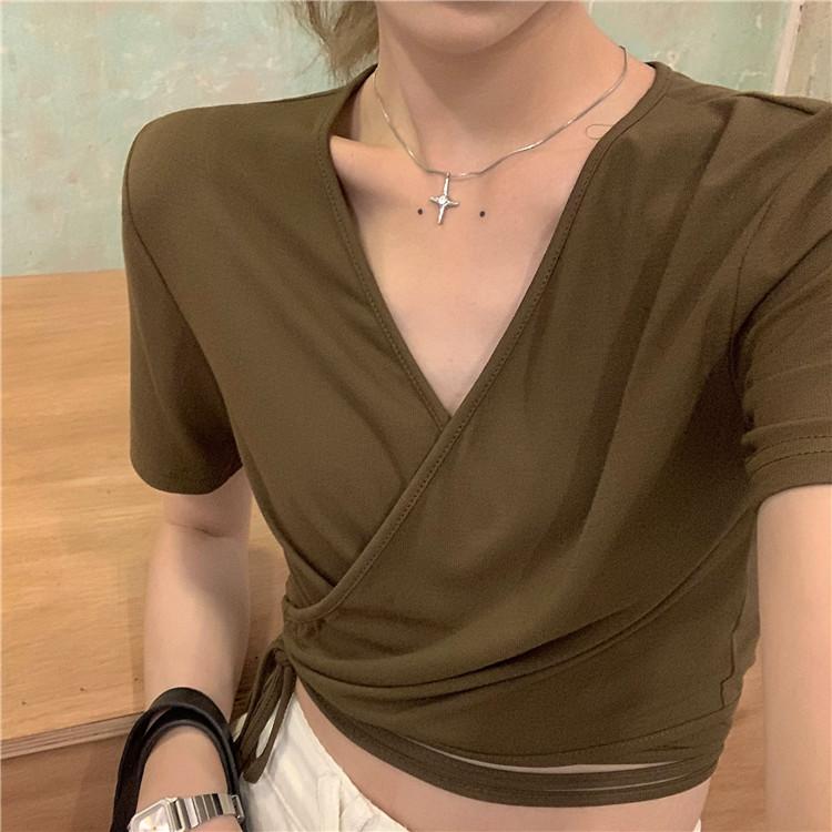 韓国 ファッション トップス Tシャツ カットソー 春 夏 カジュアル PTXK312  カシュクール 肌見せ Tシャツ カットソー オルチャン シンプル 定番 セレカジの写真7枚目