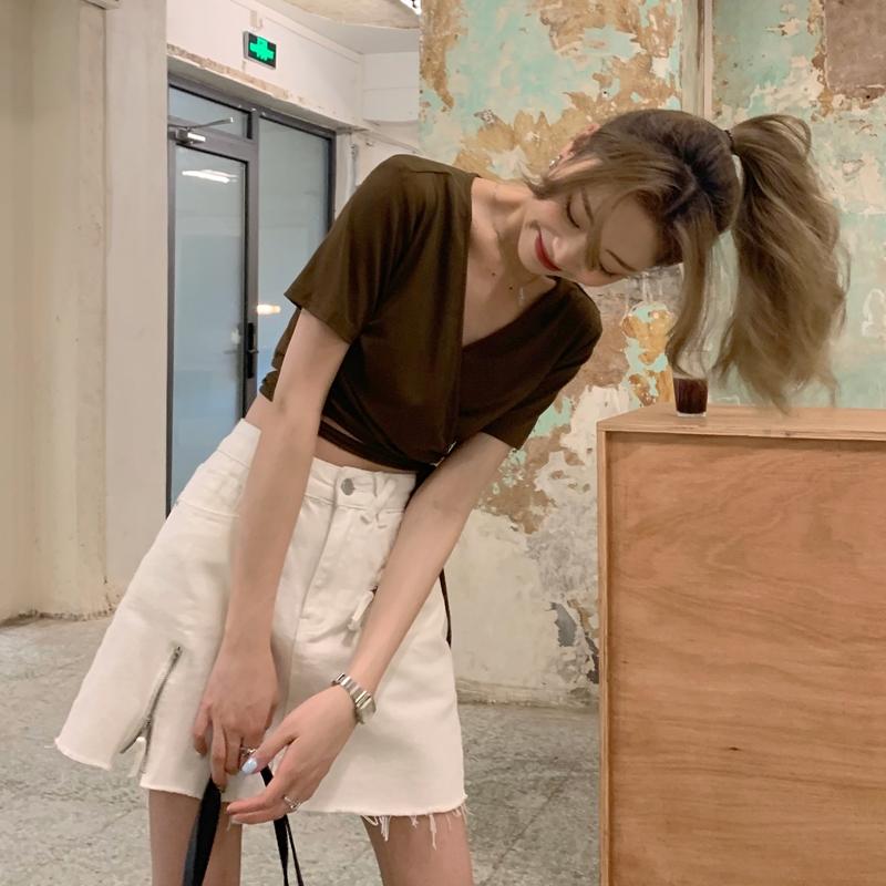 韓国 ファッション トップス Tシャツ カットソー 春 夏 カジュアル PTXK312  カシュクール 肌見せ Tシャツ カットソー オルチャン シンプル 定番 セレカジの写真9枚目