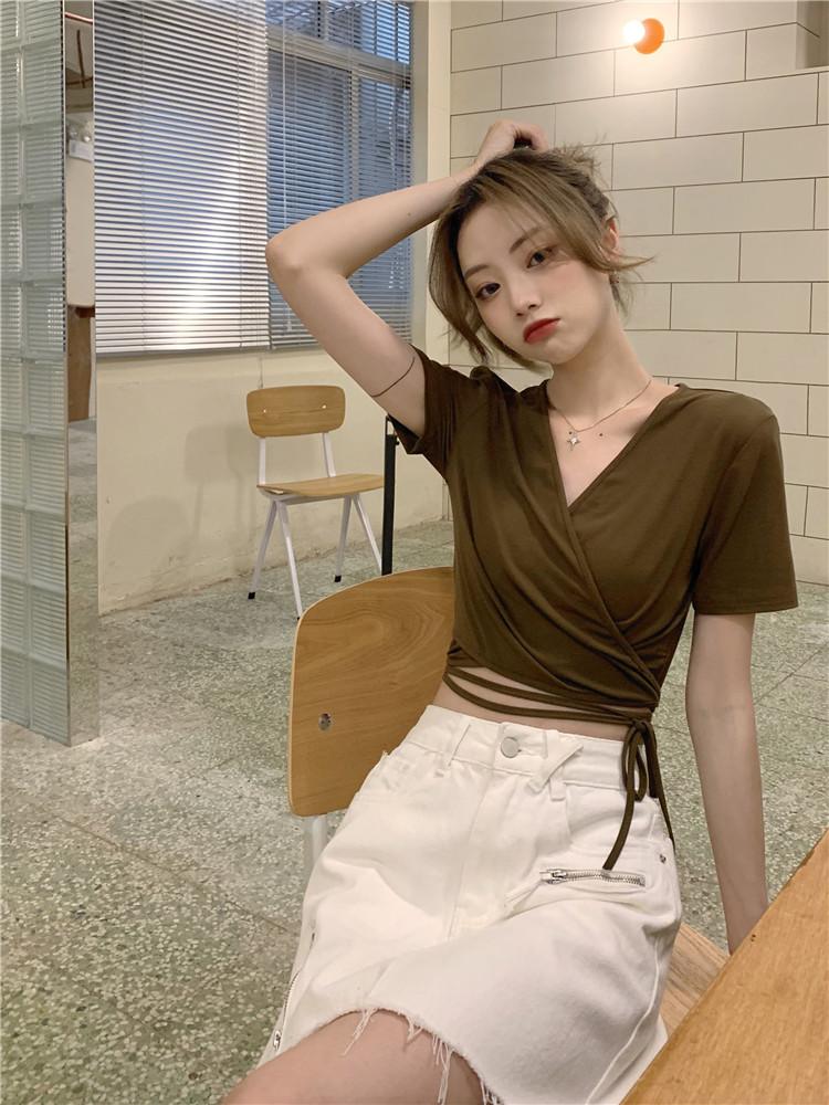 韓国 ファッション トップス Tシャツ カットソー 春 夏 カジュアル PTXK312  カシュクール 肌見せ Tシャツ カットソー オルチャン シンプル 定番 セレカジの写真12枚目