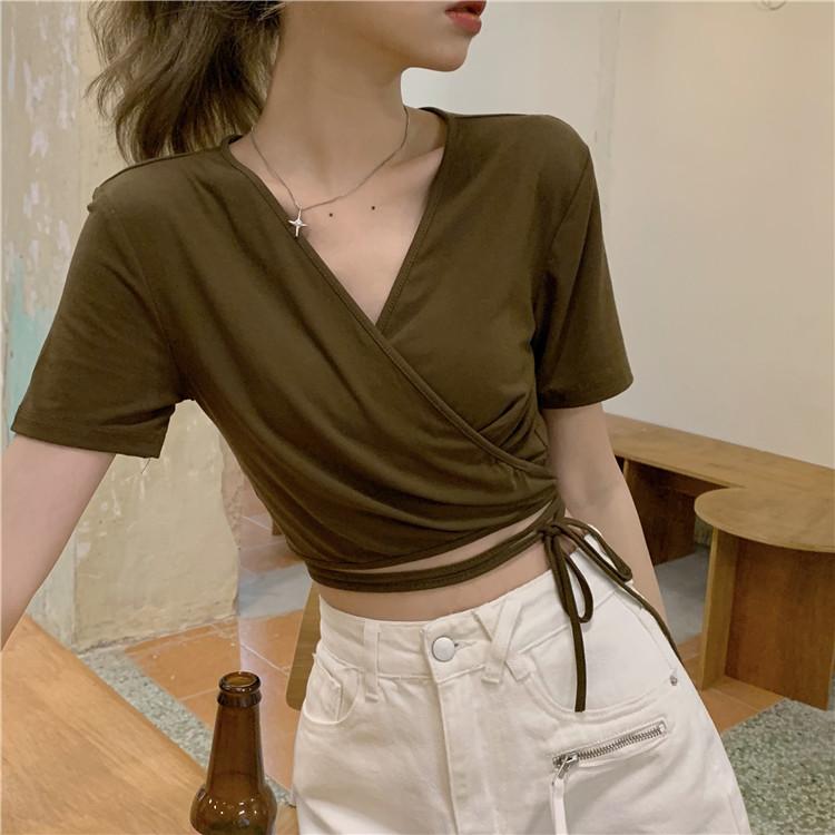 韓国 ファッション トップス Tシャツ カットソー 春 夏 カジュアル PTXK312  カシュクール 肌見せ Tシャツ カットソー オルチャン シンプル 定番 セレカジの写真13枚目