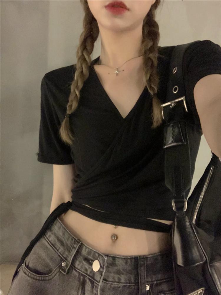 韓国 ファッション トップス Tシャツ カットソー 春 夏 カジュアル PTXK312  カシュクール 肌見せ Tシャツ カットソー オルチャン シンプル 定番 セレカジの写真17枚目
