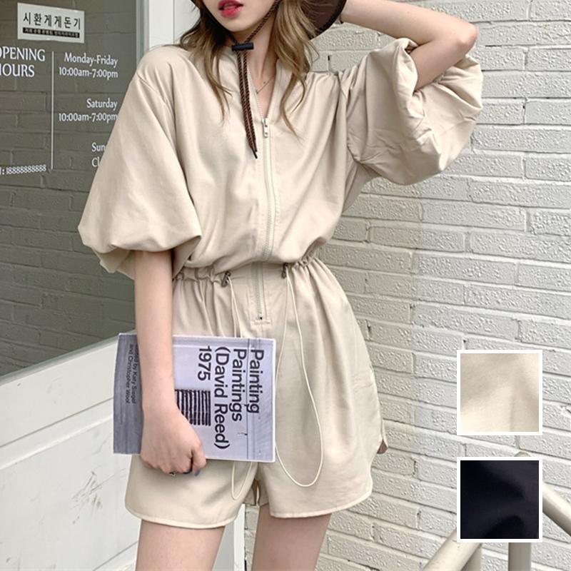 韓国 ファッション オールインワン サロペット 春 夏 カジュアル PTXK330  ボリューム袖 ウエストマーク ショーパン オルチャン シンプル 定番 セレカジの写真1枚目
