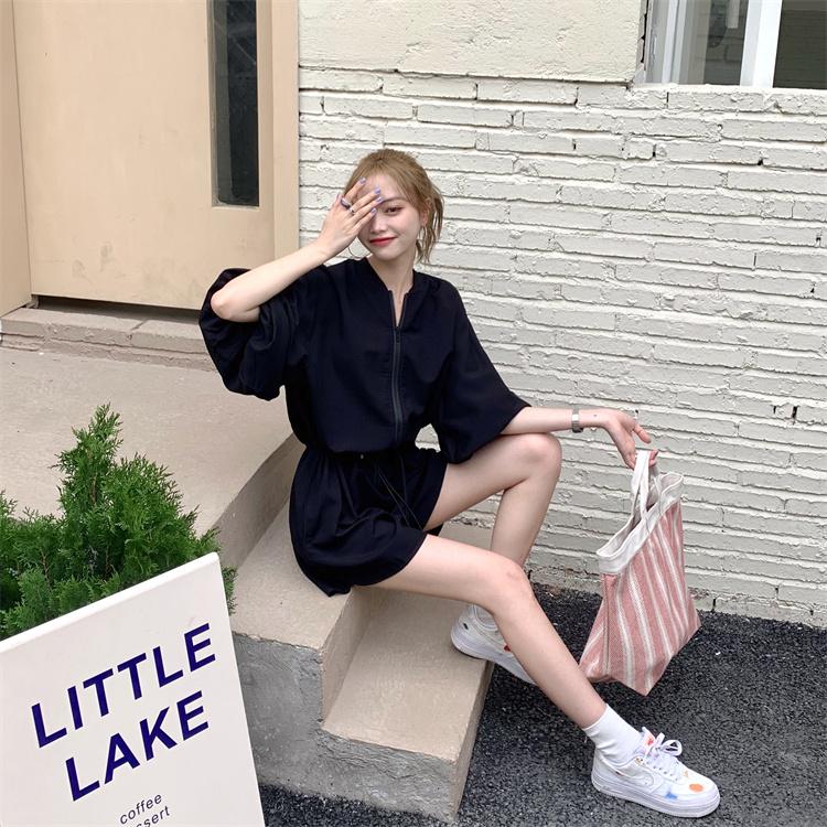 韓国 ファッション オールインワン サロペット 春 夏 カジュアル PTXK330  ボリューム袖 ウエストマーク ショーパン オルチャン シンプル 定番 セレカジの写真3枚目