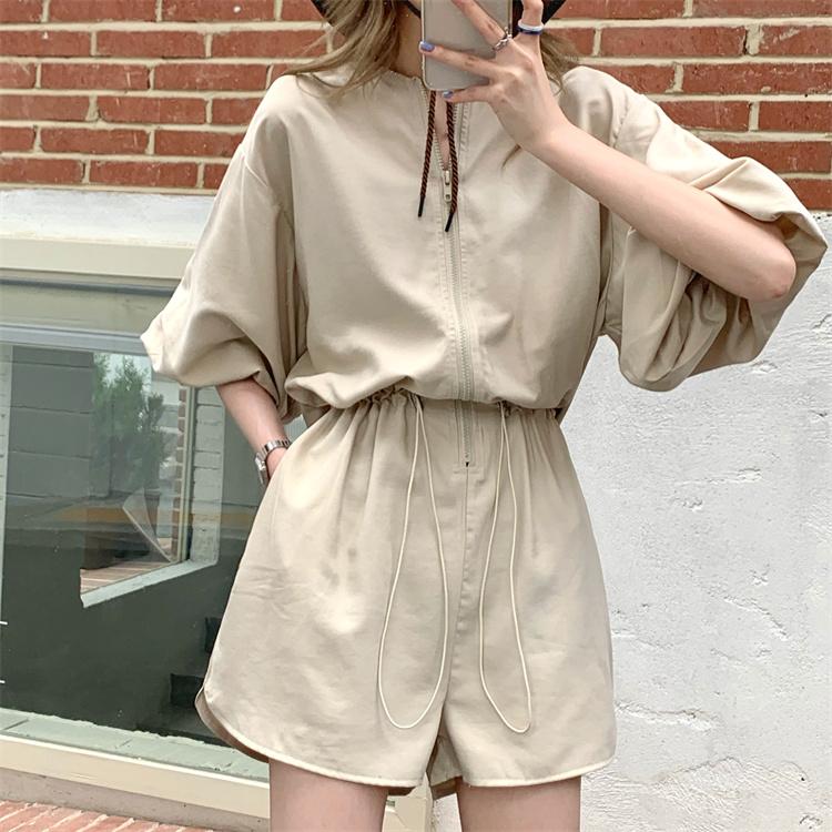 韓国 ファッション オールインワン サロペット 春 夏 カジュアル PTXK330  ボリューム袖 ウエストマーク ショーパン オルチャン シンプル 定番 セレカジの写真6枚目