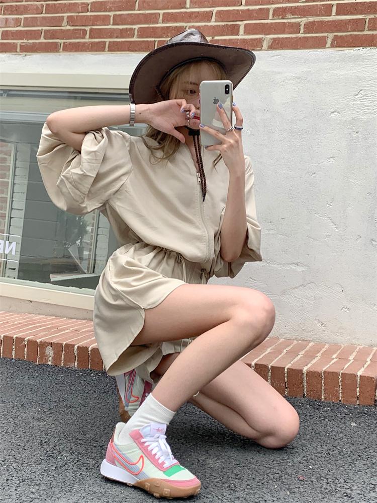 韓国 ファッション オールインワン サロペット 春 夏 カジュアル PTXK330  ボリューム袖 ウエストマーク ショーパン オルチャン シンプル 定番 セレカジの写真7枚目