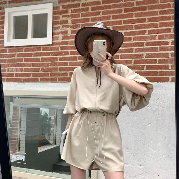 韓国 ファッション オールインワン サロペット 春 夏 カジュアル PTXK330  ボリューム袖 ウエストマーク ショーパン オルチャン シンプル 定番 セレカジの写真8枚目