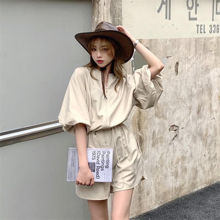 韓国 ファッション オールインワン サロペット 春 夏 カジュアル PTXK330  ボリューム袖 ウエストマーク ショーパン オルチャン シンプル 定番 セレカジの写真9枚目