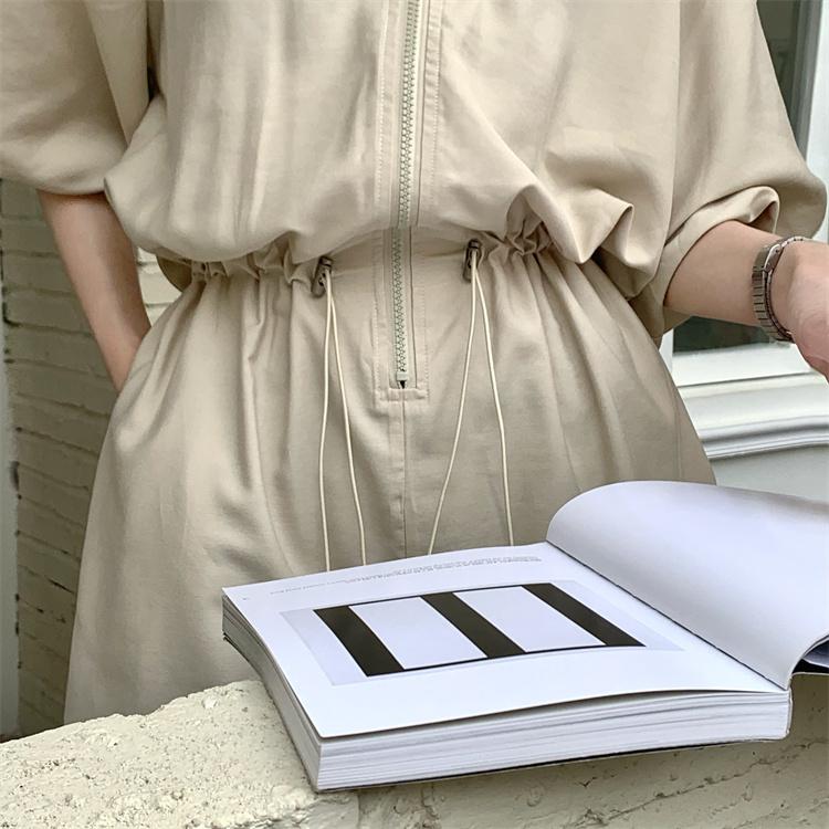 韓国 ファッション オールインワン サロペット 春 夏 カジュアル PTXK330  ボリューム袖 ウエストマーク ショーパン オルチャン シンプル 定番 セレカジの写真10枚目
