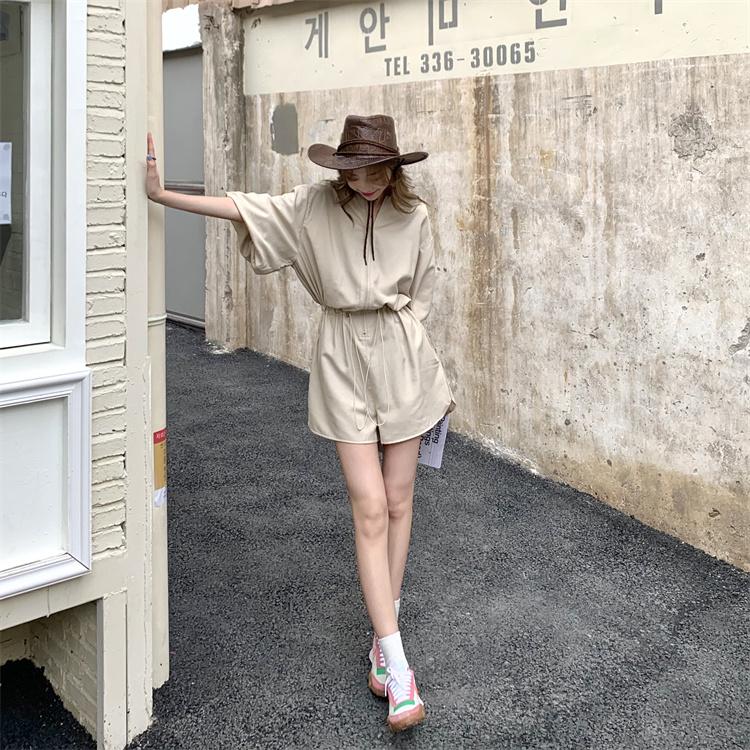 韓国 ファッション オールインワン サロペット 春 夏 カジュアル PTXK330  ボリューム袖 ウエストマーク ショーパン オルチャン シンプル 定番 セレカジの写真14枚目