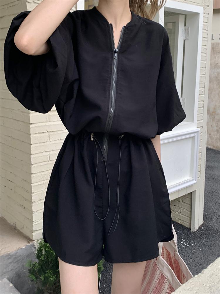 韓国 ファッション オールインワン サロペット 春 夏 カジュアル PTXK330  ボリューム袖 ウエストマーク ショーパン オルチャン シンプル 定番 セレカジの写真16枚目