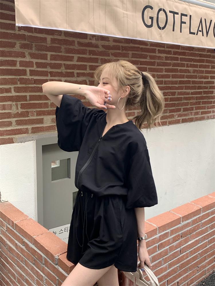 韓国 ファッション オールインワン サロペット 春 夏 カジュアル PTXK330  ボリューム袖 ウエストマーク ショーパン オルチャン シンプル 定番 セレカジの写真17枚目