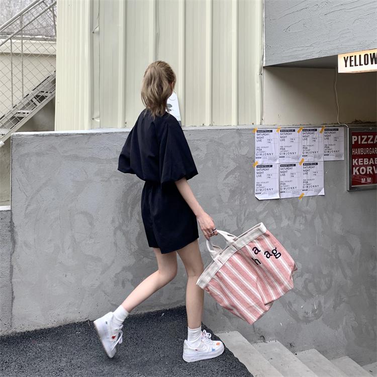 韓国 ファッション オールインワン サロペット 春 夏 カジュアル PTXK330  ボリューム袖 ウエストマーク ショーパン オルチャン シンプル 定番 セレカジの写真19枚目