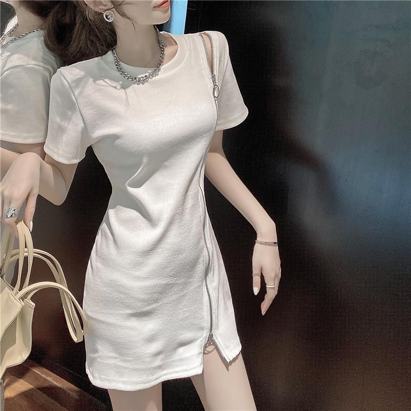 韓国 ファッション ワンピース 春 夏 カジュアル PTXK333  アシンメトリー ジップ リブ ミニワンピ オルチャン シンプル 定番 セレカジの写真4枚目