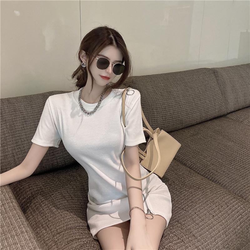 韓国 ファッション ワンピース 春 夏 カジュアル PTXK333  アシンメトリー ジップ リブ ミニワンピ オルチャン シンプル 定番 セレカジの写真5枚目