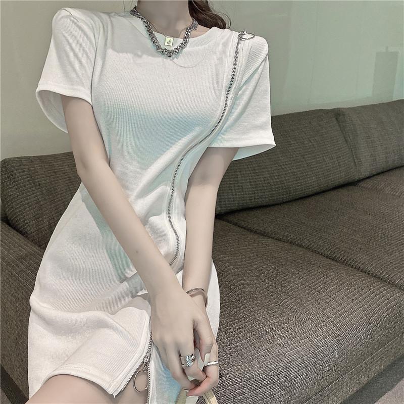 韓国 ファッション ワンピース 春 夏 カジュアル PTXK333  アシンメトリー ジップ リブ ミニワンピ オルチャン シンプル 定番 セレカジの写真6枚目