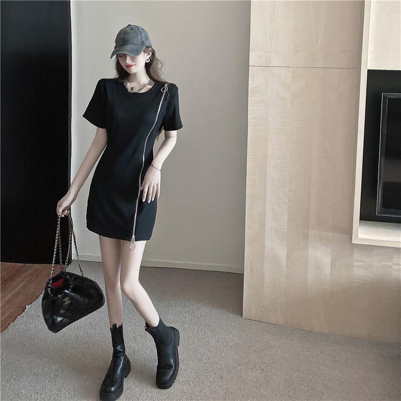 韓国 ファッション ワンピース 春 夏 カジュアル PTXK333  アシンメトリー ジップ リブ ミニワンピ オルチャン シンプル 定番 セレカジの写真9枚目