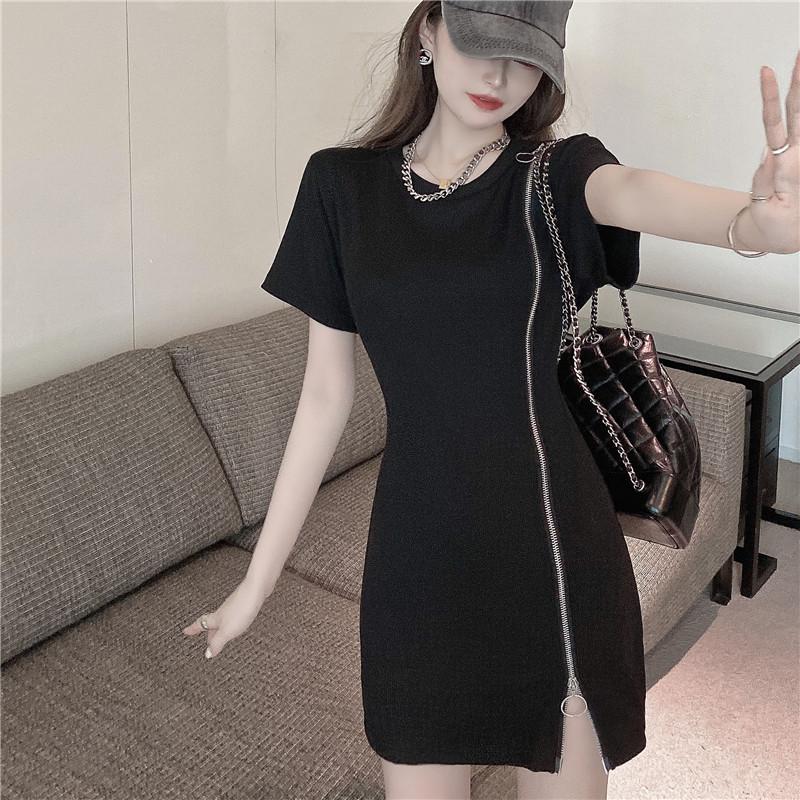 韓国 ファッション ワンピース 春 夏 カジュアル PTXK333  アシンメトリー ジップ リブ ミニワンピ オルチャン シンプル 定番 セレカジの写真10枚目
