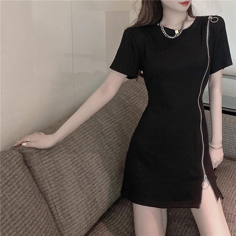 韓国 ファッション ワンピース 春 夏 カジュアル PTXK333  アシンメトリー ジップ リブ ミニワンピ オルチャン シンプル 定番 セレカジの写真11枚目