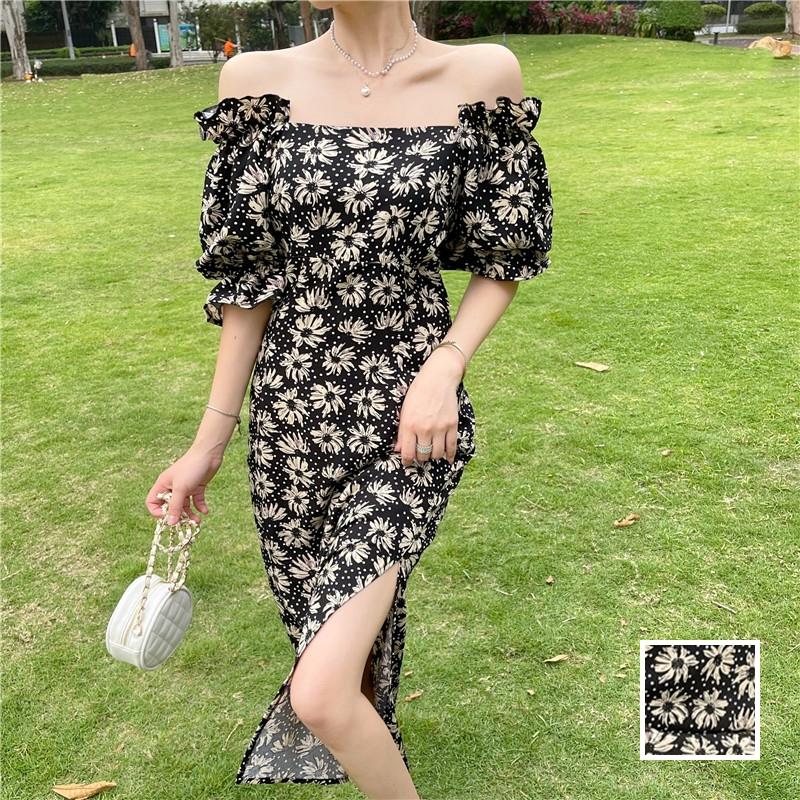 韓国 ファッション ワンピース 春 夏 カジュアル PTXK339  デコルテ見せ オフショルダー Yライン スリット オルチャン シンプル 定番 セレカジの写真1枚目