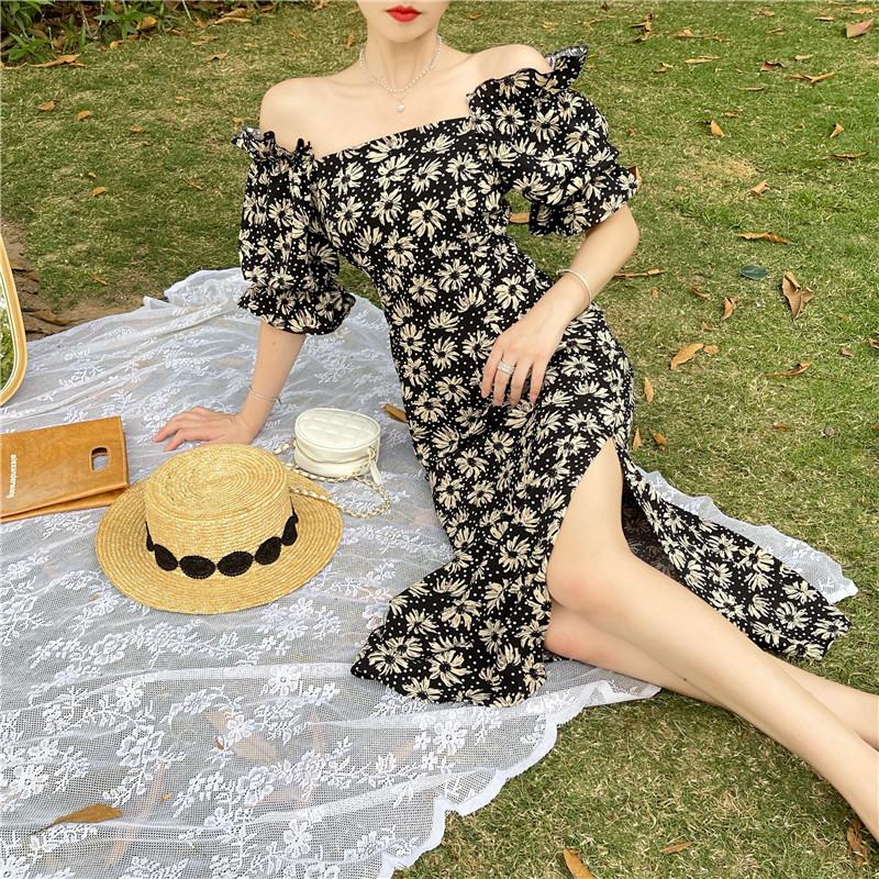 韓国 ファッション ワンピース 春 夏 カジュアル PTXK339  デコルテ見せ オフショルダー Yライン スリット オルチャン シンプル 定番 セレカジの写真4枚目