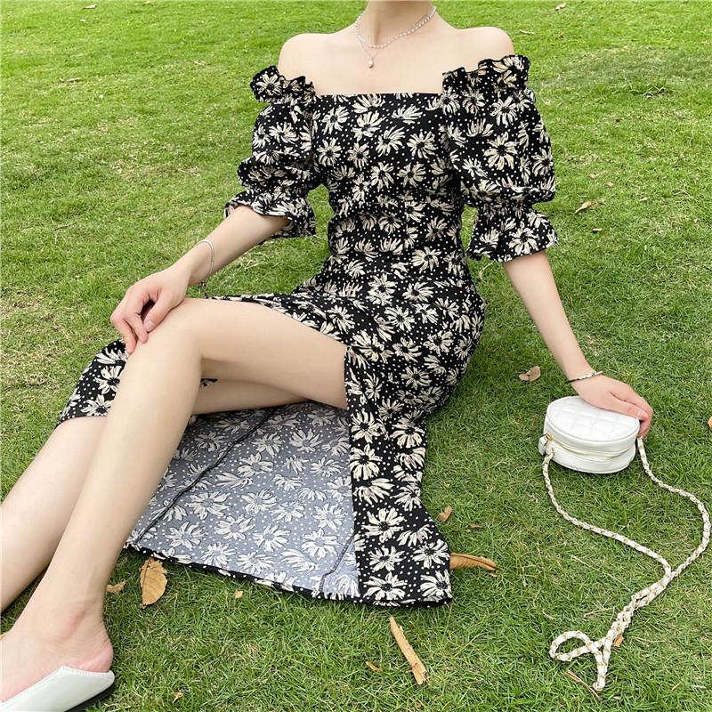 韓国 ファッション ワンピース 春 夏 カジュアル PTXK339  デコルテ見せ オフショルダー Yライン スリット オルチャン シンプル 定番 セレカジの写真6枚目