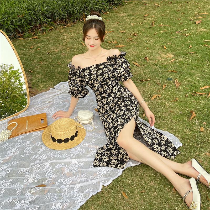 韓国 ファッション ワンピース 春 夏 カジュアル PTXK339  デコルテ見せ オフショルダー Yライン スリット オルチャン シンプル 定番 セレカジの写真9枚目