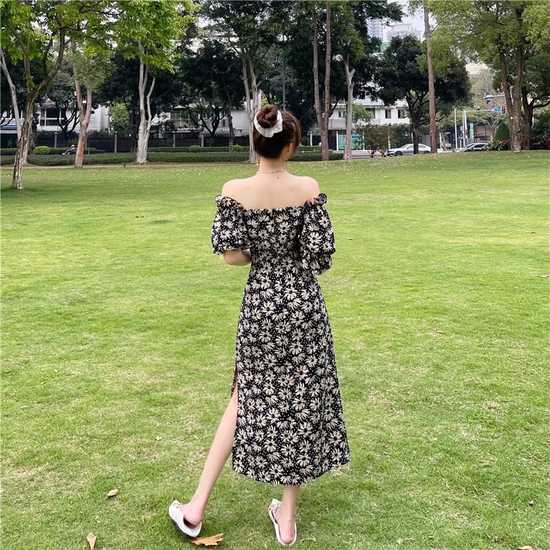 韓国 ファッション ワンピース 春 夏 カジュアル PTXK339  デコルテ見せ オフショルダー Yライン スリット オルチャン シンプル 定番 セレカジの写真10枚目