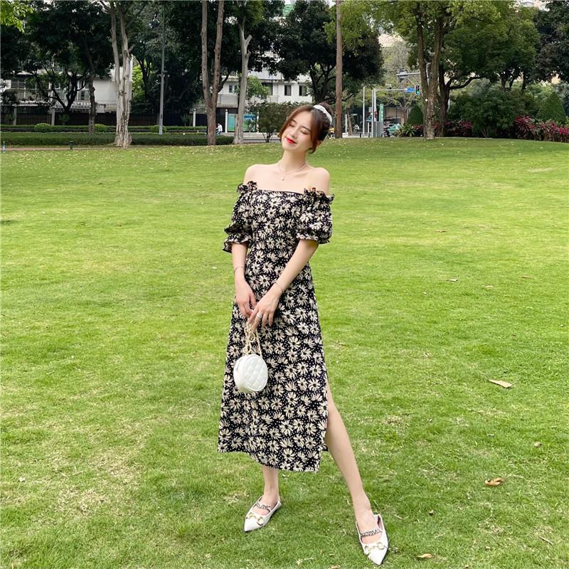 韓国 ファッション ワンピース 春 夏 カジュアル PTXK339  デコルテ見せ オフショルダー Yライン スリット オルチャン シンプル 定番 セレカジの写真11枚目