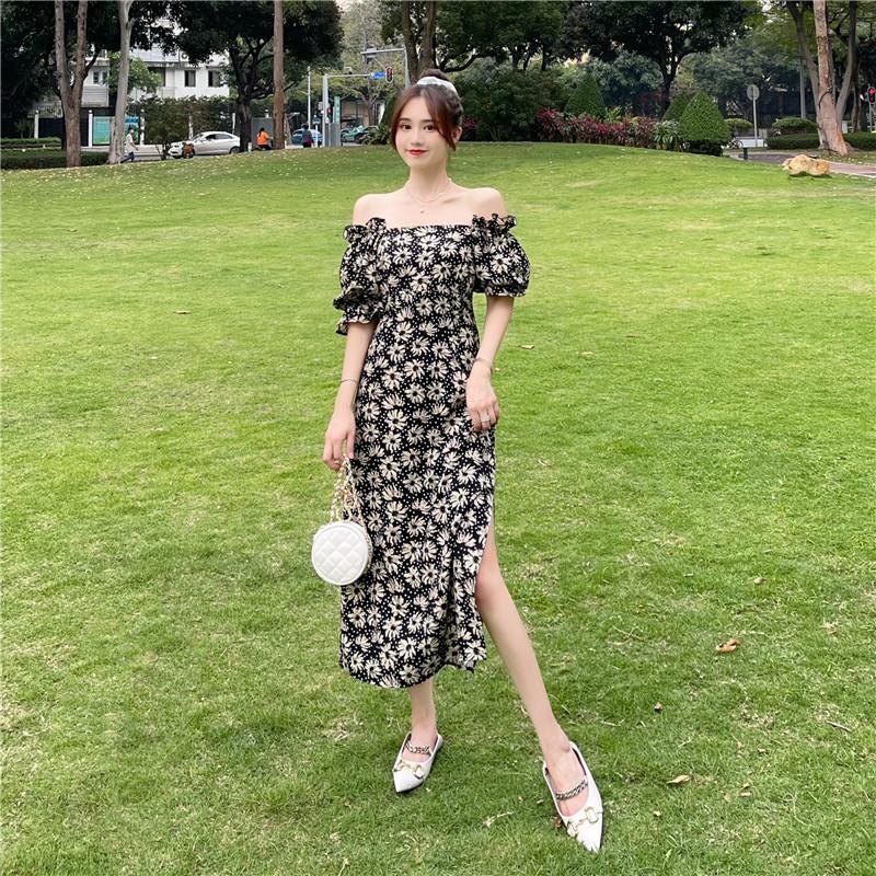 韓国 ファッション ワンピース 春 夏 カジュアル PTXK339  デコルテ見せ オフショルダー Yライン スリット オルチャン シンプル 定番 セレカジの写真12枚目