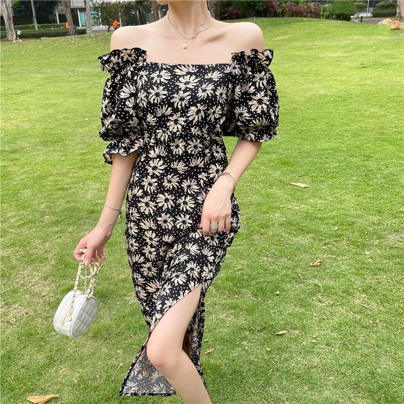 韓国 ファッション ワンピース 春 夏 カジュアル PTXK339  デコルテ見せ オフショルダー Yライン スリット オルチャン シンプル 定番 セレカジの写真13枚目