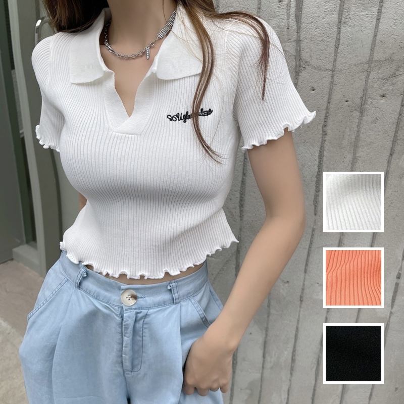 韓国 ファッション トップス Tシャツ カットソー 春 夏 カジュアル PTXK349  スキッパー リブ 襟付き ショート ウェーブ オルチャン シンプル 定番 セレカジの写真1枚目