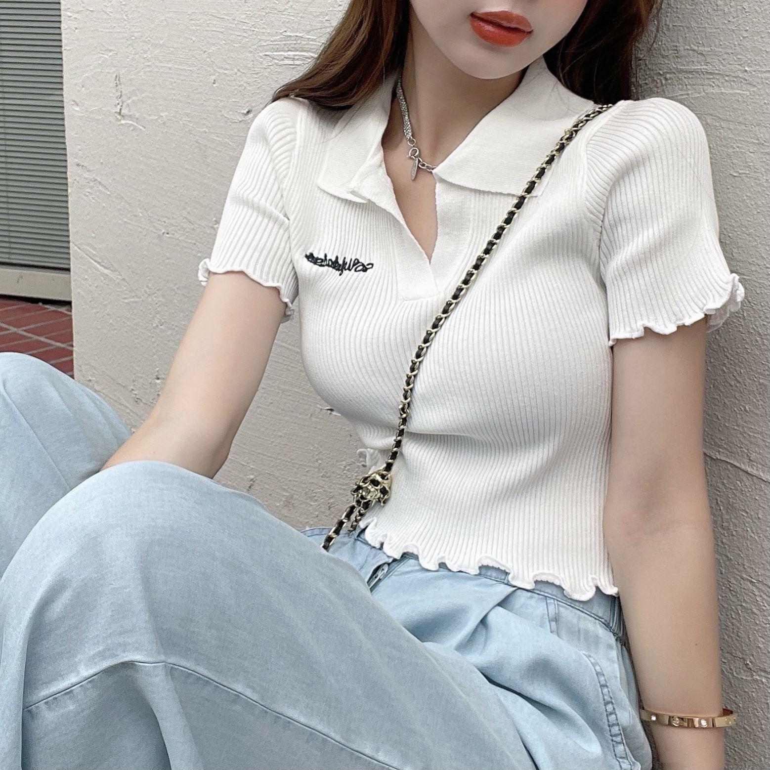 韓国 ファッション トップス Tシャツ カットソー 春 夏 カジュアル PTXK349  スキッパー リブ 襟付き ショート ウェーブ オルチャン シンプル 定番 セレカジの写真2枚目