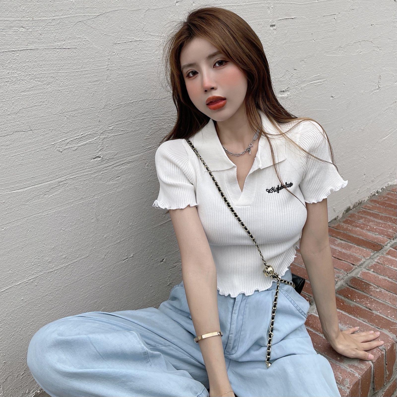 韓国 ファッション トップス Tシャツ カットソー 春 夏 カジュアル PTXK349  スキッパー リブ 襟付き ショート ウェーブ オルチャン シンプル 定番 セレカジの写真5枚目
