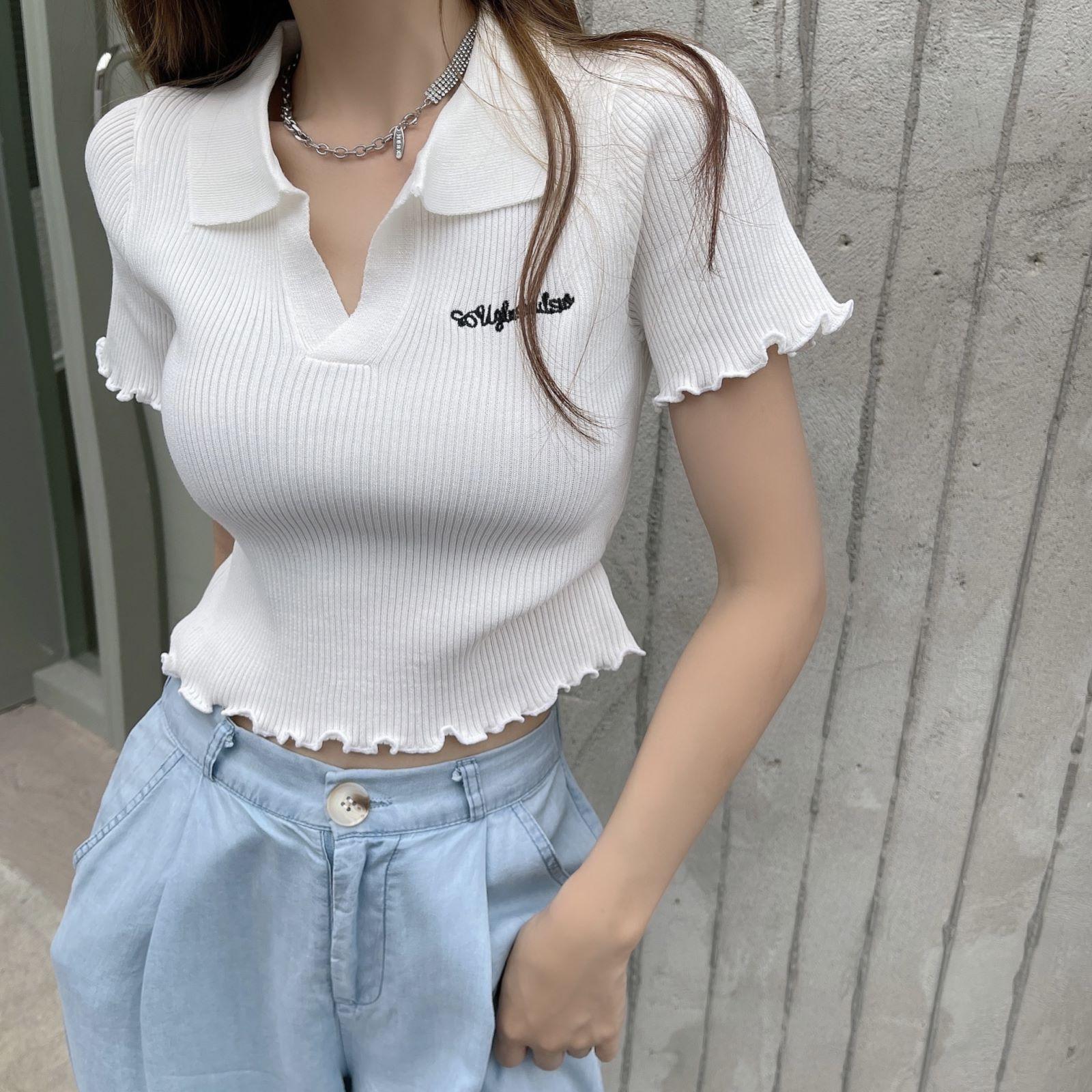 韓国 ファッション トップス Tシャツ カットソー 春 夏 カジュアル PTXK349  スキッパー リブ 襟付き ショート ウェーブ オルチャン シンプル 定番 セレカジの写真10枚目
