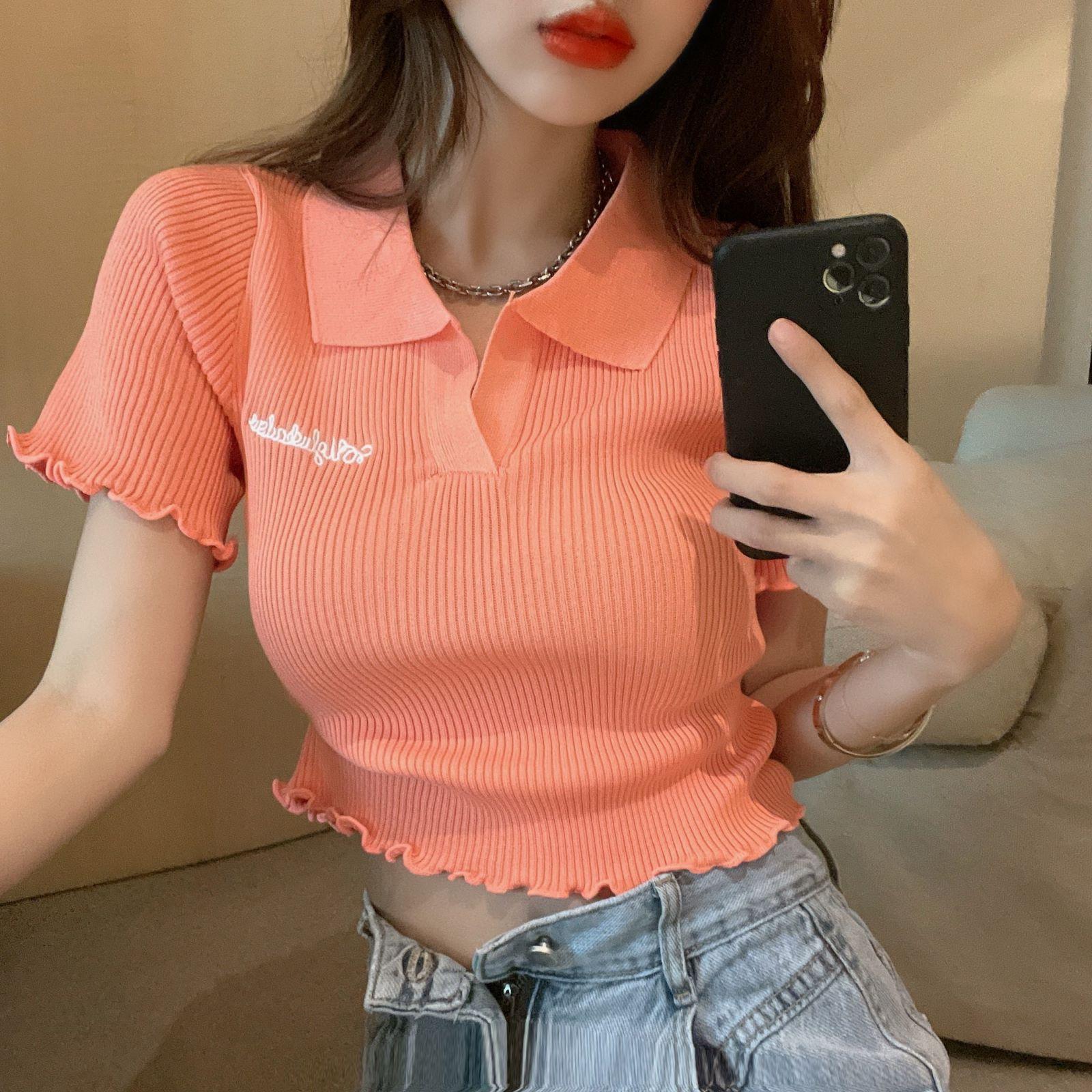 韓国 ファッション トップス Tシャツ カットソー 春 夏 カジュアル PTXK349  スキッパー リブ 襟付き ショート ウェーブ オルチャン シンプル 定番 セレカジの写真11枚目