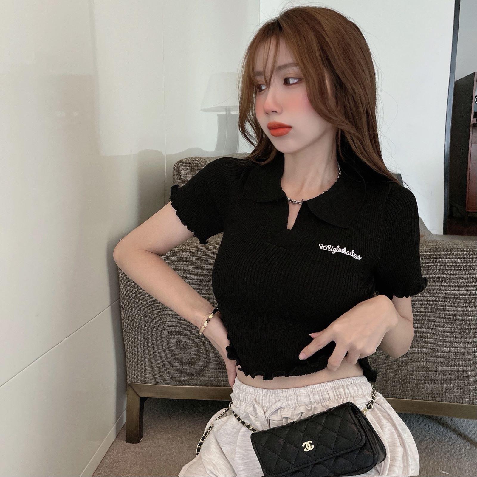 韓国 ファッション トップス Tシャツ カットソー 春 夏 カジュアル PTXK349  スキッパー リブ 襟付き ショート ウェーブ オルチャン シンプル 定番 セレカジの写真18枚目